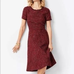 TALBOTS RSVP Red Tweed Metallic Gold Dress Size 12